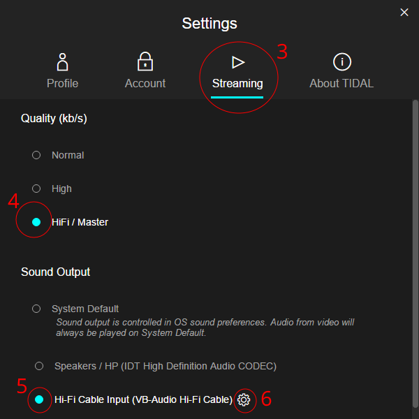 Tidal Streaming Master Hi-Fi Cable Settings